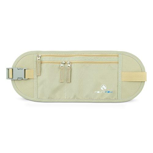 Reise Bauchtasche mit RFID-Blockierung - Geldgürtel Flach - Versteckte Sicherheits Sicherheitstasche - Unter Kleidung Beige