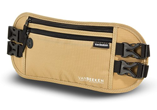 Bauchtasche Hüfttasche mit RFID-Blockierung und 2 Hüftgurten - extra flach, enganliegend und wasserabweisend - Geldgürtel zum Reisen, Joggen und Wandern   VAN BEEKEN - beige (Beige)