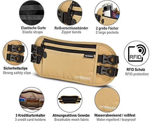 Bauchtasche Hüfttasche mit RFID-Blockierung und 2 Hüftgurten – extra flach, enganliegend und wasserabweisend – Geldgürtel zum Reisen, Joggen und Wandern   VAN BEEKEN – beige (Beige) - 3