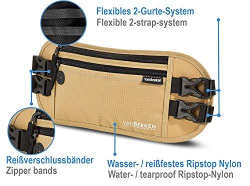 Bauchtasche Hüfttasche mit RFID-Blockierung und 2 Hüftgurten – extra flach, enganliegend und wasserabweisend – Geldgürtel zum Reisen, Joggen und Wandern   VAN BEEKEN – beige (Beige) - 5