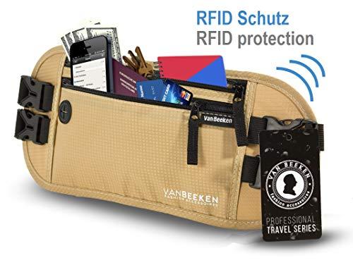 Bauchtasche Hüfttasche mit RFID-Blockierung und 2 Hüftgurten – extra flach, enganliegend und wasserabweisend – Geldgürtel zum Reisen, Joggen und Wandern   VAN BEEKEN – beige (Beige) - 2