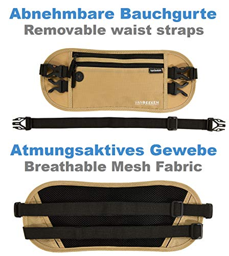 Bauchtasche Hüfttasche mit RFID-Blockierung und 2 Hüftgurten – extra flach, enganliegend und wasserabweisend – Geldgürtel zum Reisen, Joggen und Wandern   VAN BEEKEN – beige (Beige) - 6