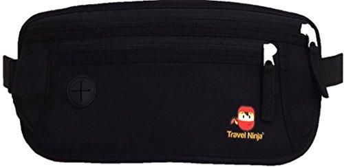 [TRAVEL-EDITION] Premium Reise-Bauchtasche für Damen & Herren   100% Top-Qualität   Schütze Deine Wertsachen   Deluxe Gürteltasche & Hüfttasche Extra flach   Für Reise & Urlaub   Schwarz