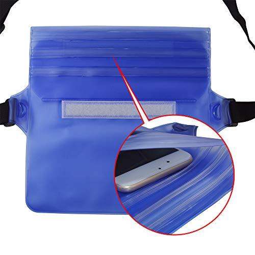 [ 2 Pack ] Ipow Wasserdichte Tasche Beutel Hülle Unterwassertasche Bauchtasche vollkommen für iPhone, Handy, Kamera, iPad, Bargeld, Dokumente vor Wasser schützen (schwarz+ blau) - 2
