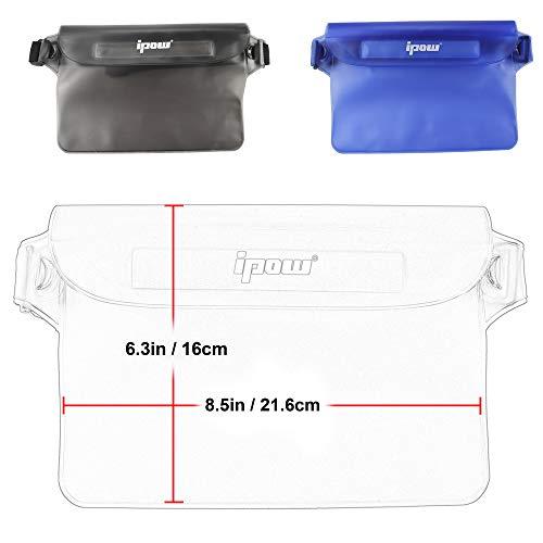 [ 2 Pack ] Ipow Wasserdichte Tasche Beutel Hülle Unterwassertasche Bauchtasche vollkommen für iPhone, Handy, Kamera, iPad, Bargeld, Dokumente vor Wasser schützen (schwarz+ blau) - 3