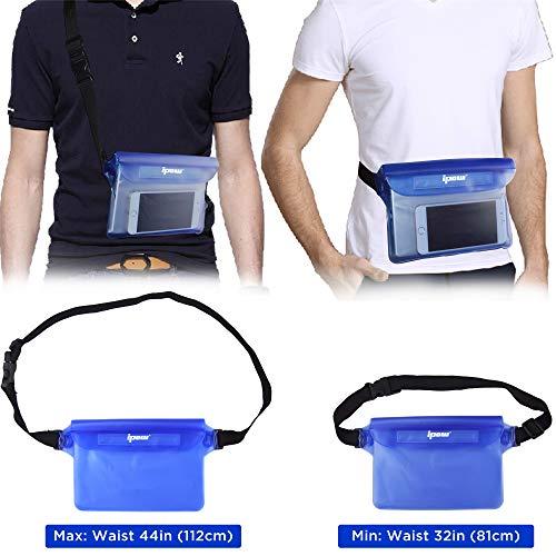 [ 2 Pack ] Ipow Wasserdichte Tasche Beutel Hülle Unterwassertasche Bauchtasche vollkommen für iPhone, Handy, Kamera, iPad, Bargeld, Dokumente vor Wasser schützen (schwarz+ blau) - 5