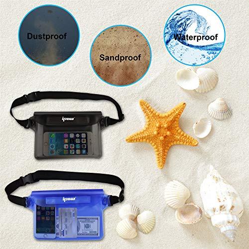 [ 2 Pack ] Ipow Wasserdichte Tasche Beutel Hülle Unterwassertasche Bauchtasche vollkommen für iPhone, Handy, Kamera, iPad, Bargeld, Dokumente vor Wasser schützen (schwarz+ blau) - 6
