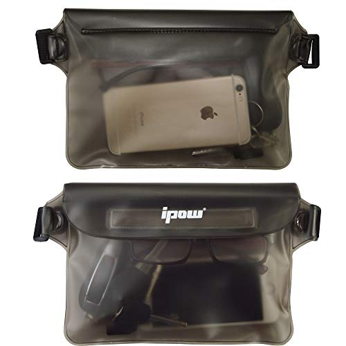 [ 2 Pack ] Ipow Wasserdichte Tasche Beutel Hülle Unterwassertasche Bauchtasche vollkommen für iPhone, Handy, Kamera, iPad, Bargeld, Dokumente vor Wasser schützen (schwarz+ blau) - 8
