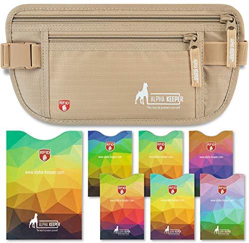 RFID Geld-Bauchtasche für Reisen mit RFID geschützten Fächern für Pass und 6 Kreditkarten