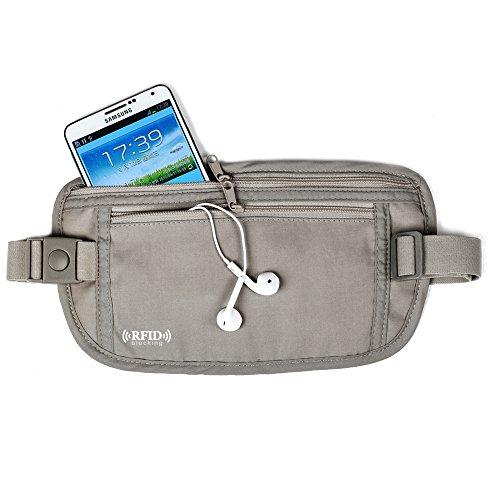 G2PLUS Kleines Gürteltäschchen Bauchtasche RFID Gürtelsafe Brustbeutel mit verstellbarem Riemen Reißverschluss Taschen für Reisen 26 cm * 14 cm * 0.2 cm (Beige)