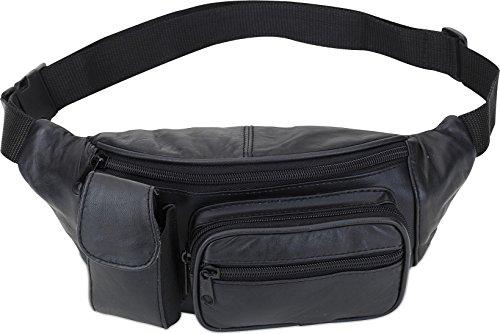 Leder Bauchtasche Gürteltasche Hüfttasche schwarz