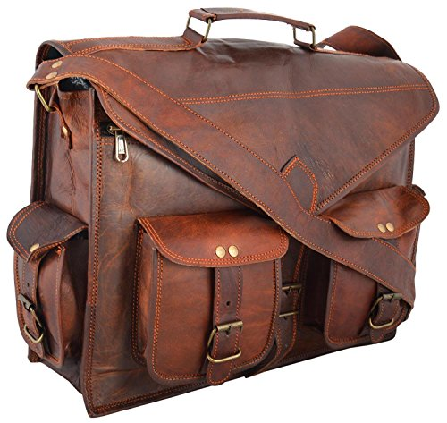 "* CLASSYDESIGNS * Weinlese- Leder -Laptop-Tasche 15 "" Bote Handmade Aktentasche Crossbody Umhängetasche"