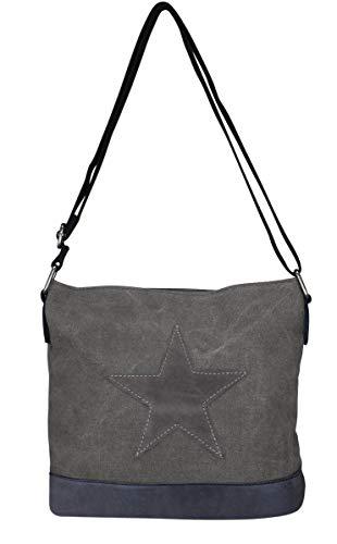 Damen Stern Handtasche Schultasche Clutch TOP TREND Tragetasche (Modell 3 Dunkelgrau) - 5