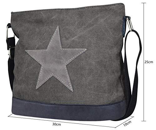 Damen Stern Handtasche Schultasche Clutch TOP TREND Tragetasche (Modell 3 Dunkelgrau) - 2
