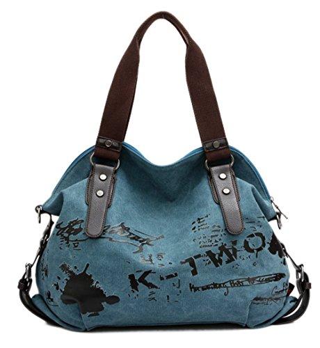 VADOOLL® Fashion Damen Mädchen Casual Canvas Umhängetasche Handtasche Schultertasche Tote ideal für Büro Freizeit Einkaufen Outdoor 40 x 15 x 30cm(Blau)