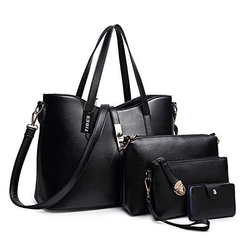 Tibes Art und Weisefrauen PU Leder Handtasche + Schultertasche + Geldbeutel + Kartenhalter 4pcs Schwarz
