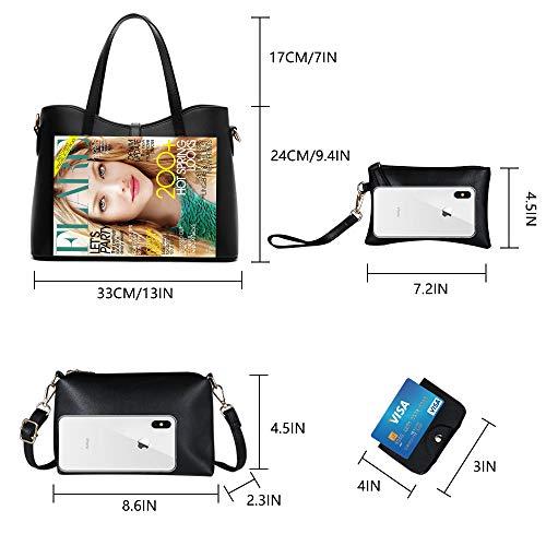 Tibes Art und Weisefrauen PU Leder Handtasche + Schultertasche + Geldbeutel + Kartenhalter 4pcs Schwarz - 3