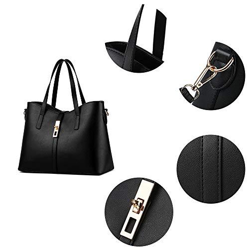 Tibes Art und Weisefrauen PU Leder Handtasche + Schultertasche + Geldbeutel + Kartenhalter 4pcs Schwarz - 4