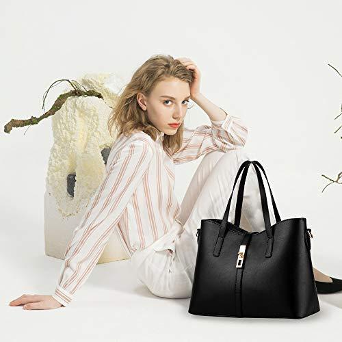 Tibes Art und Weisefrauen PU Leder Handtasche + Schultertasche + Geldbeutel + Kartenhalter 4pcs Schwarz - 8