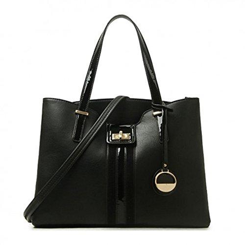 LeahWard® Damen Mode Essener Modisch Zwei Teins Taschen Damen Elegant Berühmtheit Handtasche CWS00379 (Schwarz Doppelt Abteil Taschen)