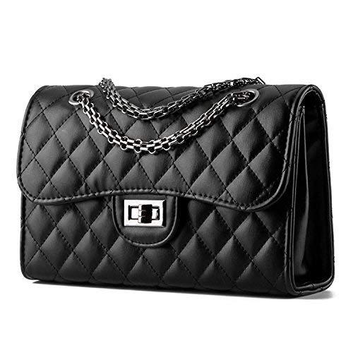 Young & Ming - Damen Leder Mini Handtaschen Clutches Schultertaschen Raute mit Metallkette
