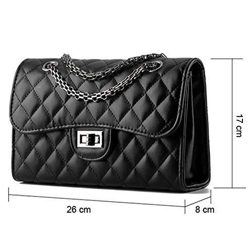 Young & Ming – Damen Leder Mini Handtaschen Clutches Schultertaschen Raute mit Metallkette - 2