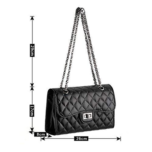 Young & Ming – Damen Leder Mini Handtaschen Clutches Schultertaschen Raute mit Metallkette - 3