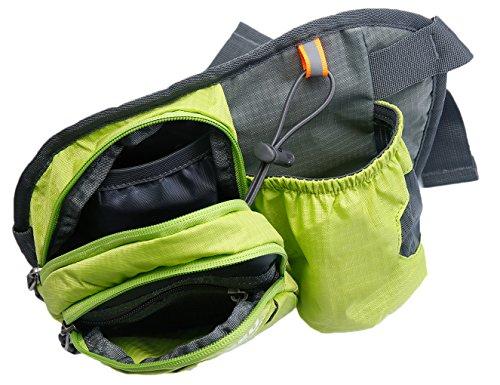 Multi-Function Gürteltasche Bauchtasche Hüfttasche Außen Mit Flaschenhalter wasserabweisend Unisex Taille Tasche nur Tasche Grün - 4