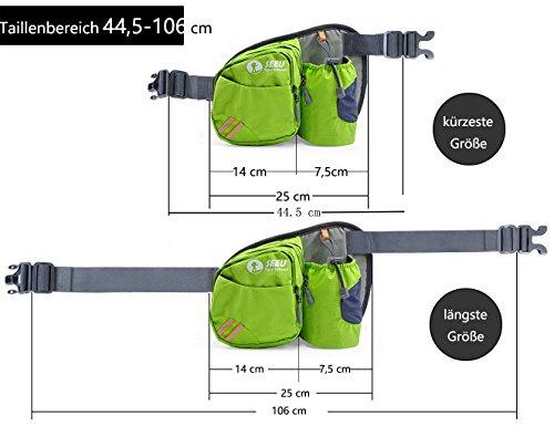 Multi-Function Gürteltasche Bauchtasche Hüfttasche Außen Mit Flaschenhalter wasserabweisend Unisex Taille Tasche nur Tasche Grün - 5