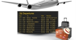Travel background with mechanical departures board and airline. Vector